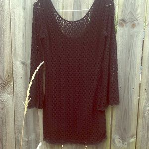 Free People Black Knit Lace Dress Long Sleeve Bell